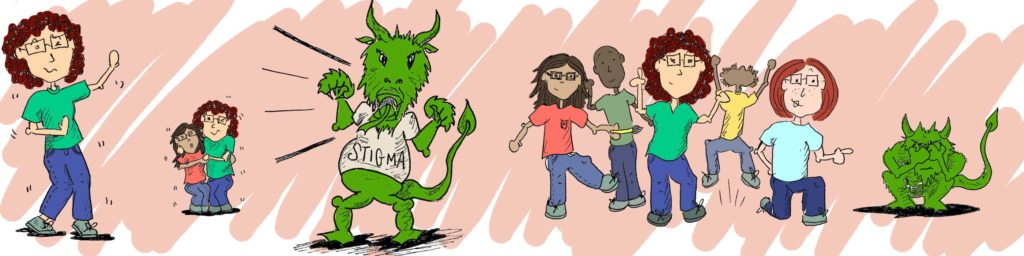 Suedle of The Committed Project founders hugging, dancing, and fighting the Stigma Dragon - Mental Health Awareness Month